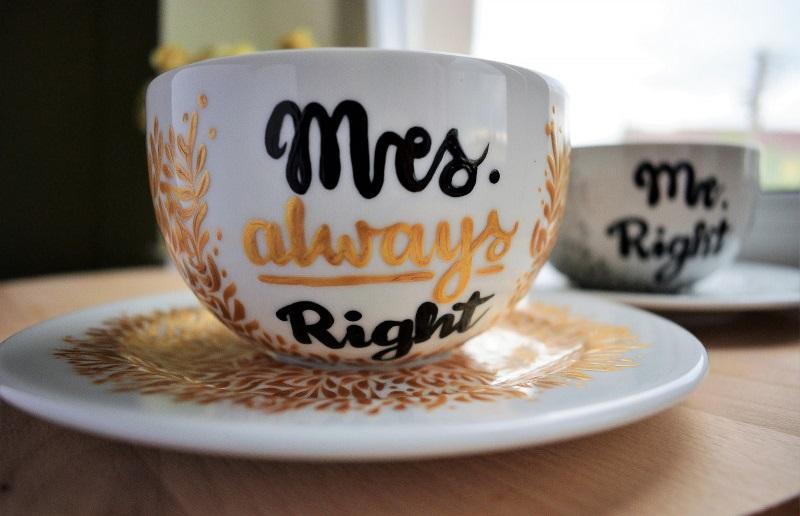 Filiżanki dla pary Mr & Mrs Right ręcznie malowane
