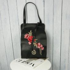 33fbd16123303 MANZANA stylowa TOREBKA z kwiatami czarna
