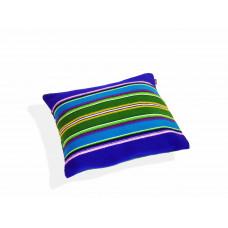 Poduszka folk pasiak łowicki, dwustronny 35x35cm (Niebieska)