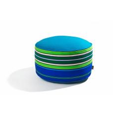 Pufa wełniana folk 60cm (Niebieska)