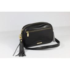 Torebka skórzana -  Fabulous black saffiano zamek