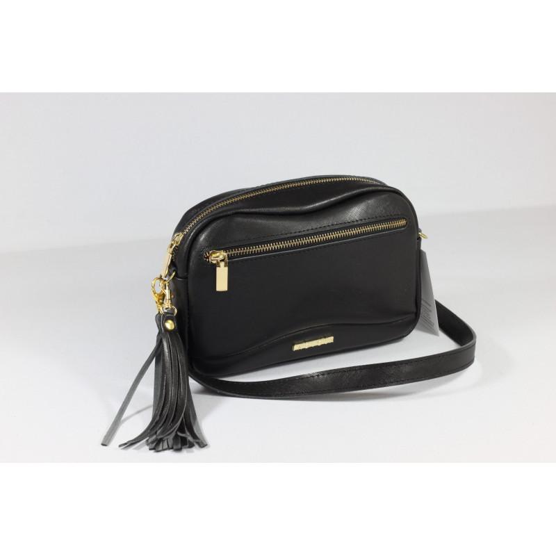 325826dd8562c Torebka skórzana - Fabulous black saffiano zamek - POLPOL.pl