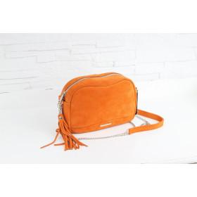Torebka skórzana - Fabulous #9 pomarańczowa welur