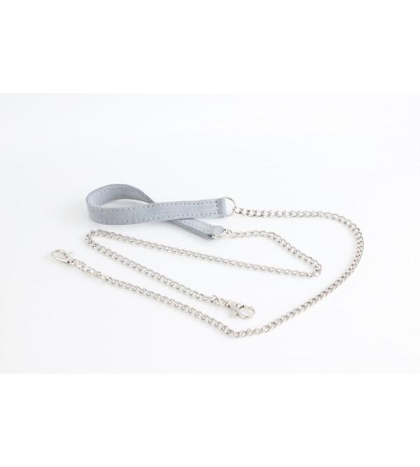 Łańcuszek srebrny do torebki z elementem skórzanym