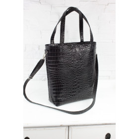 Torebka skórzana - Shopper Verona czarny krokodyl L/d