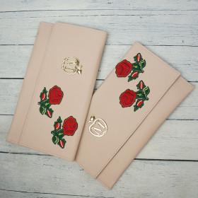 Kopertówka Koperta Manzana Pudrowy Róż+ Kwiaty