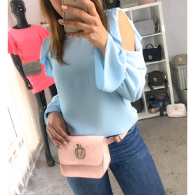 Zwiewna Bluzeczka Z Rękawkami, Falbanki Baby Blue