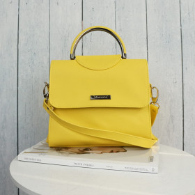 Elegancka Listonoszka Włoska Eko Skóra Klasyczna Żółta Musztarda