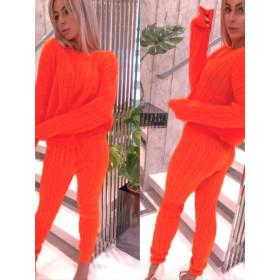 Sweterkowy Zestaw Neonowe Kolory Komplet Dres
