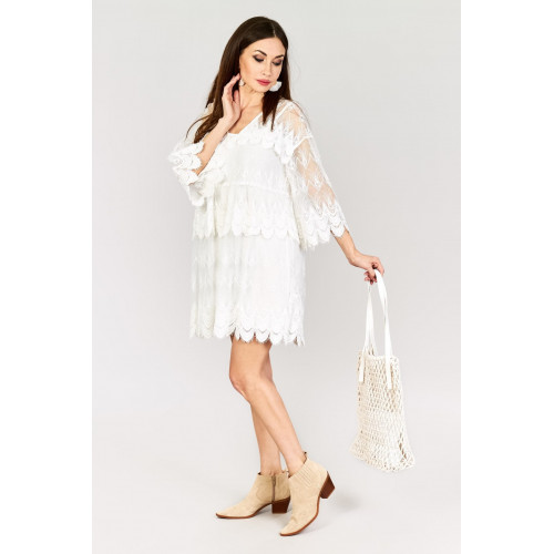Biała Sukienka Wakacyjna Cała Z Koronki Koronkowa