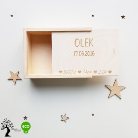 Drewniane pudełko na zdjęcia rozsuwane