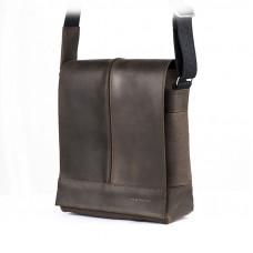 Ciemno brązowa męska skórzana torba na ramię