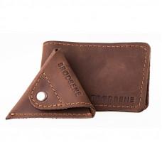 Ciemno brązowy cienki zestaw portfel + bilonówka cw01