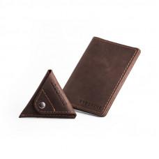 Ciemno brązowy zestaw portfel + bilonówka sw01