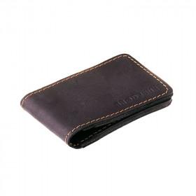 Czarny skórzany cienki portfel sw02