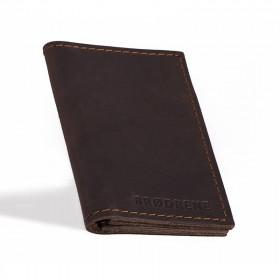 Elegancki ciemno brązowy skórzany cienki portfel sw03