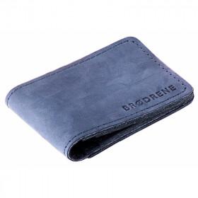 Granatowy skórzany cienki portfel sw02