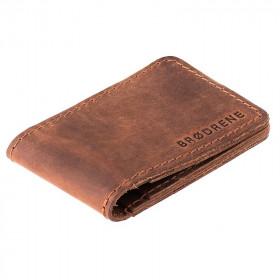Jasno brązowy skórzany cienki portfel sw02