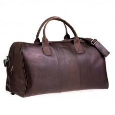 Klasyczna ciemno brązowa skórzana torba podróżna