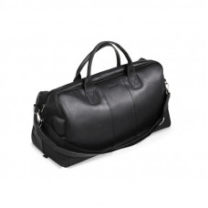 Klasyczna czarna skórzana torba podróżna
