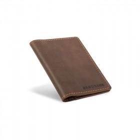 Skórzany ciemno brązowy cienki portfel sw01