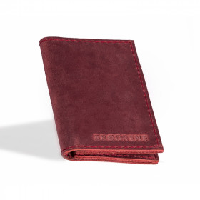 Skórzany czerwony cienki portfel sw03