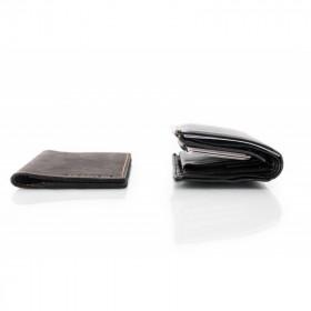 Skórzany granatowy cienki portfel sw01