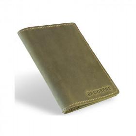 Skórzany oliwkowy cienki portfel sw01