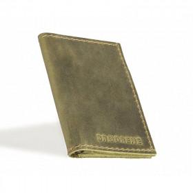 Skórzany oliwkowy cienki portfel sw03