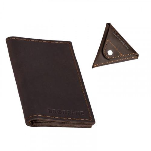 Znakomity ciemno brązowy zestaw portfel + bilonówka