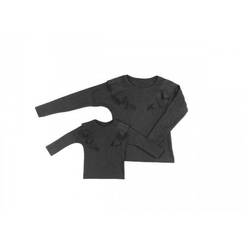 LATORI - Komplet bluz dla mamy i córki LM14/1 LD14/1 ciemno-szary