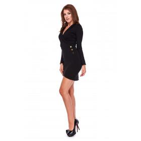 Elegancka sukienka z kopertowym przodem LM27/2 (czarny)