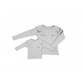Komplet bluz dla mamy i córki LM14/2 LD14/2 jasno-szary