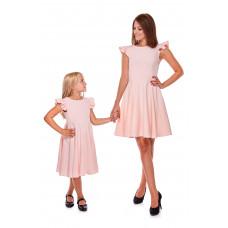 Komplet sukienek Mama i córka LD16/LM16-1 (Pudrowy róż)