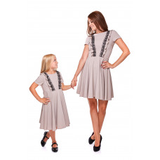 Komplet sukienek z falbanami Mama i córka LD13/LM13-1 (Beżowy)