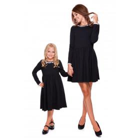 Komplet sukienek z ozdobną koronką Mama i córka LD20/LM20-1 (Ciemno szary)