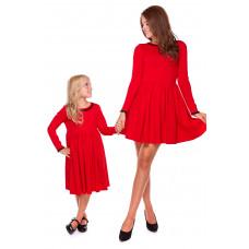Komplet sukienek z ozdobną koronką Mama i córka LD20/LM20-2 (Czerwony)