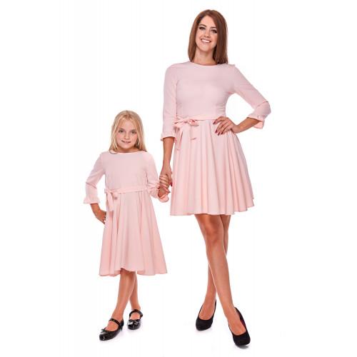 Komplet Sukienek z wiązaniem dla Mamy i Córki LD30/LM30-1 (pudrowy róż)