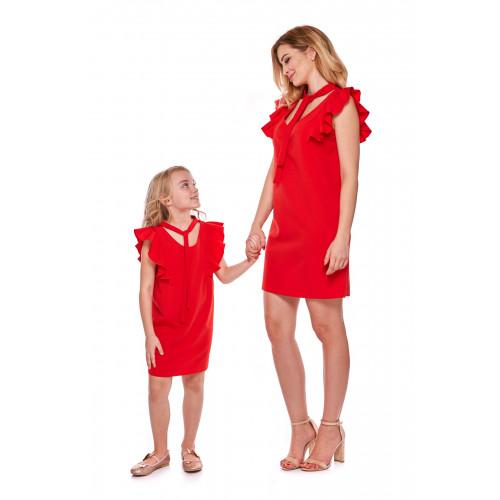 Sukienka dla córki Mama i córka LD10/2 Czerwona