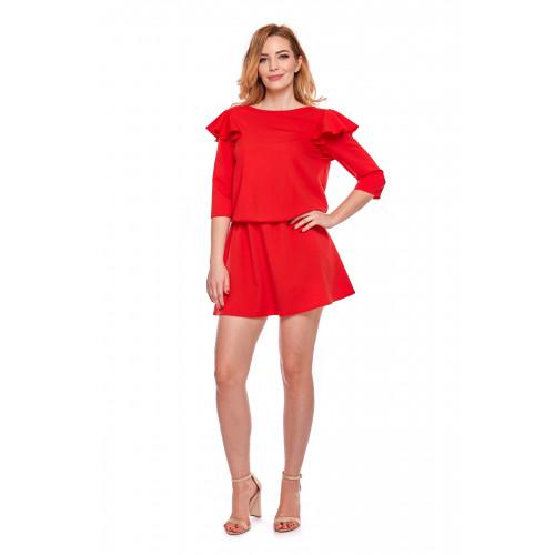 Odcinana sukienka dla mamy - Czerwona LM8/2