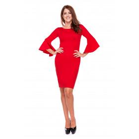 Sukienka damska ołówkowa LM23/2 (czerwony)