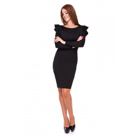 Sukienka damska ołówkowa z falbaną LM25/1 (czarny)