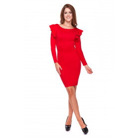 Sukienka damska ołówkowa z falbaną LM25/2 (czerwony)