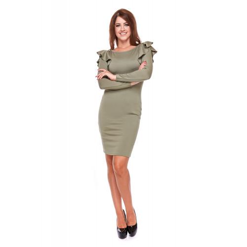 Sukienka damska ołówkowa z falbaną LM25/3 (zieleń khaki)