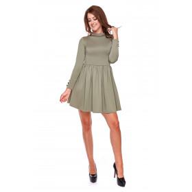 Sukienka damska rozkloszowana LM31/3 (zieleń khaki)