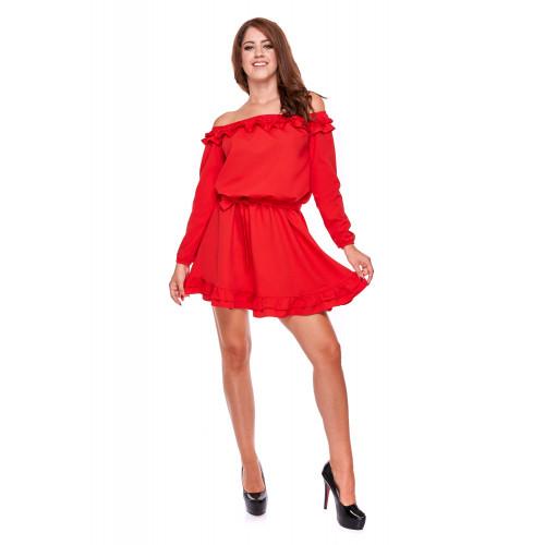 Sukienka damska z falbanami ONE SIZE LM28/1 (czerwony)