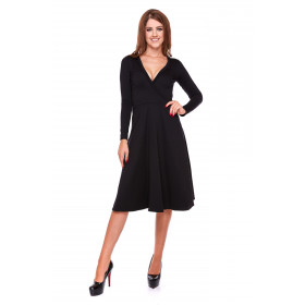 Sukienka damska z kopertowym przodem LM22/1 (czarny)
