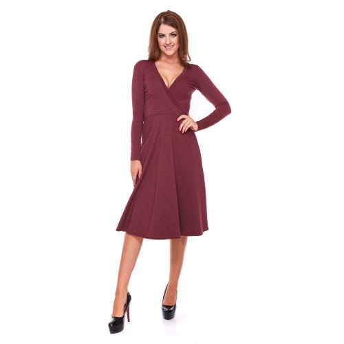 Sukienka damska z kopertowym przodem LM22/2 (Bordo-melanż)