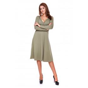 Sukienka damska z kopertowym przodem LM22/3 (Zieleń khaki)