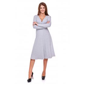 Sukienka damska z kopertowym przodem LM22/4 (Jasno-szary)